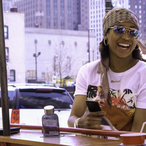 Smiling on a Detroit Pedal Pub!